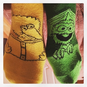 Image of Big Bird and Oscar the Grouch socks